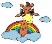 giraffe peeking from behind the clouds and a rainbow
