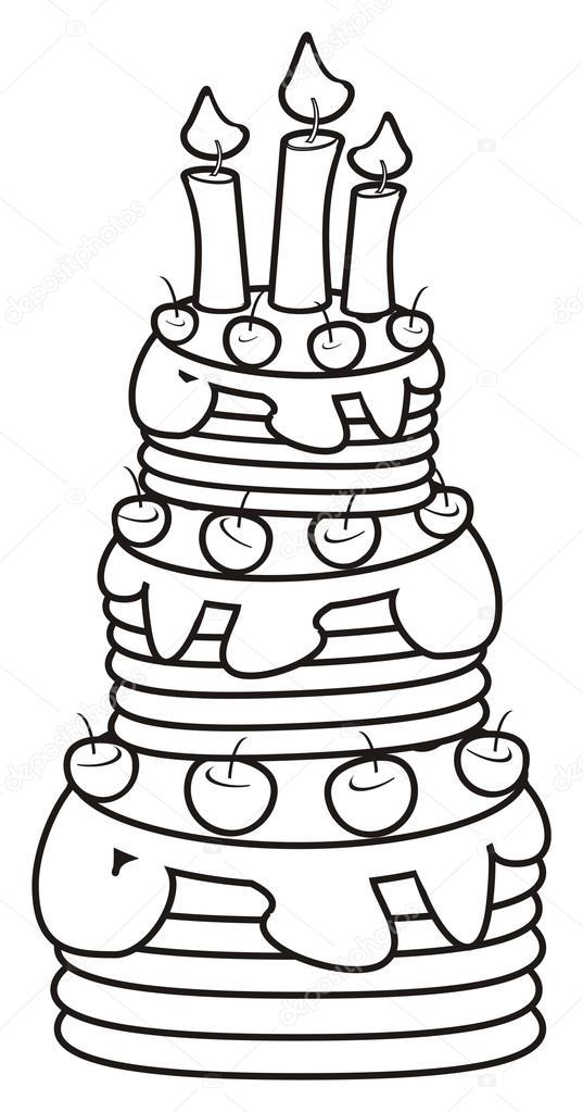 Cake Met Kaarsen Kleurplaten Van Drie Verdiepingen