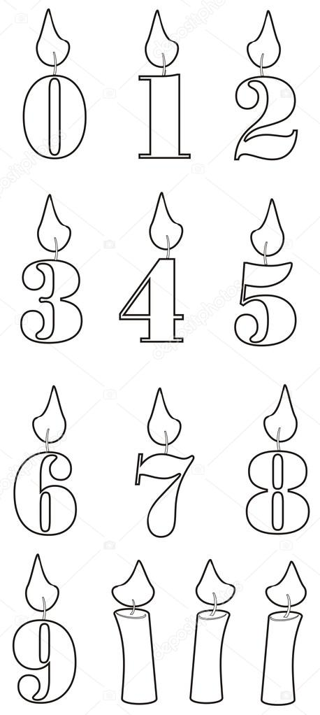 Coloring figures candles from zero to nine — Stock Photo ...
