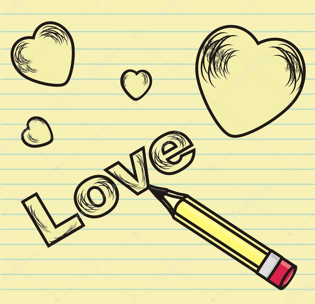 Eu Te Amo Desenhado Na Folha De Caderno Fotografias De