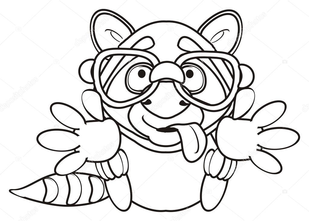 Färbung-Waschbär sitzt und zieht knuddeln — Stockfoto © tatty77tatty ...