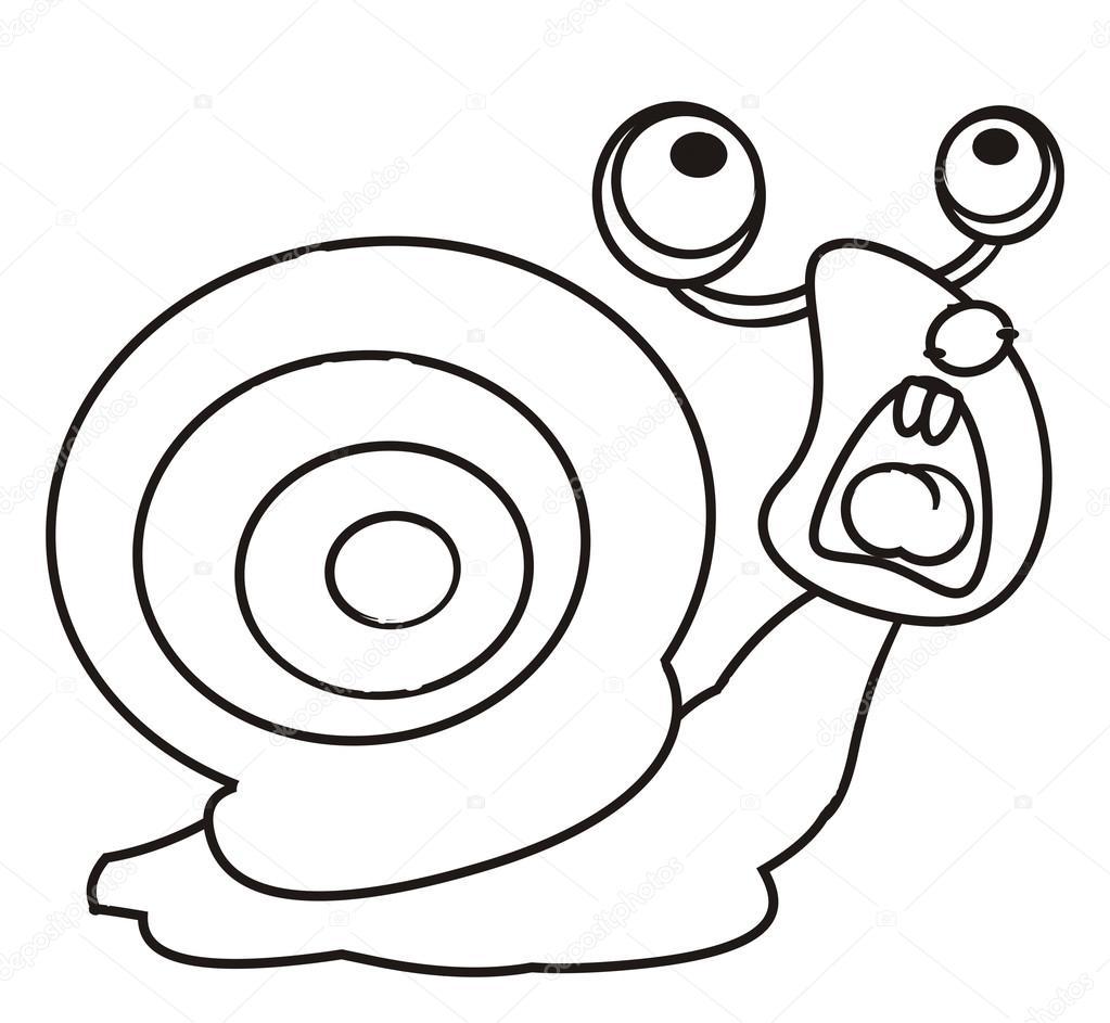 kleurplaat vooraanzicht slakken stockfoto
