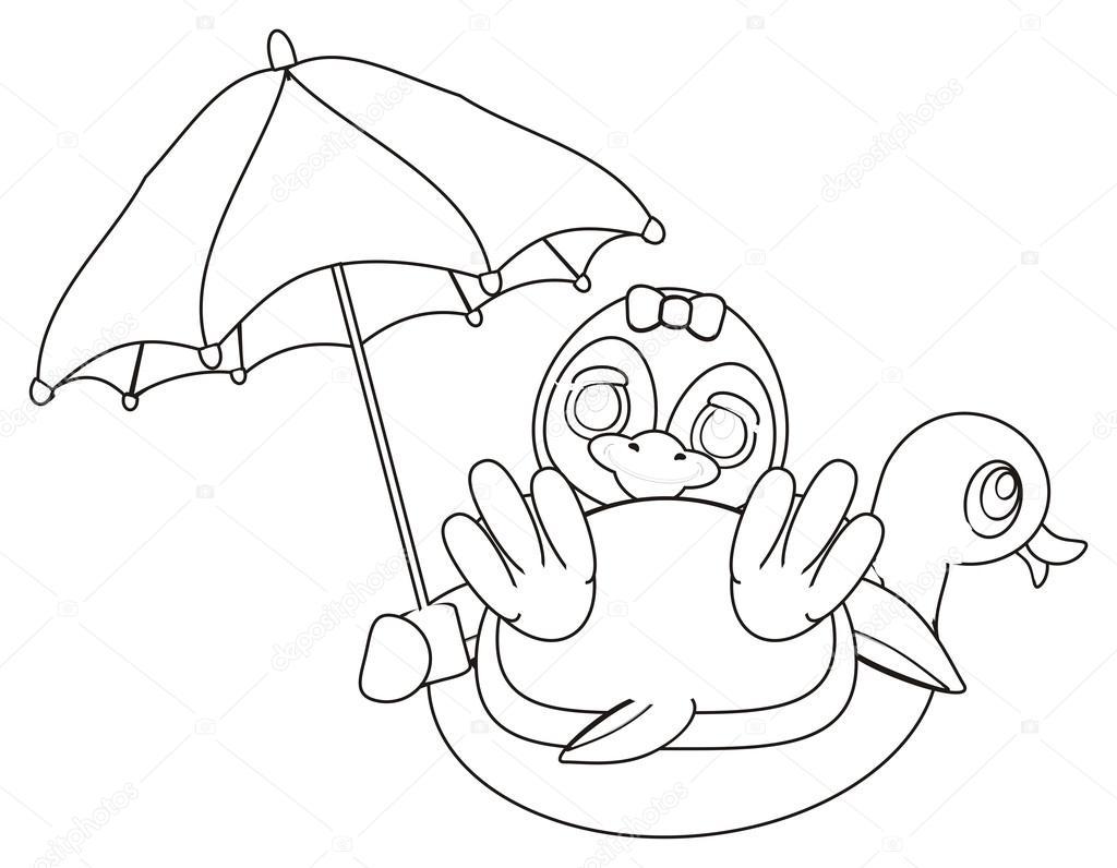Bir şemsiye Ile Boyama Penguen Stok Foto Tatty77tatty 122718094