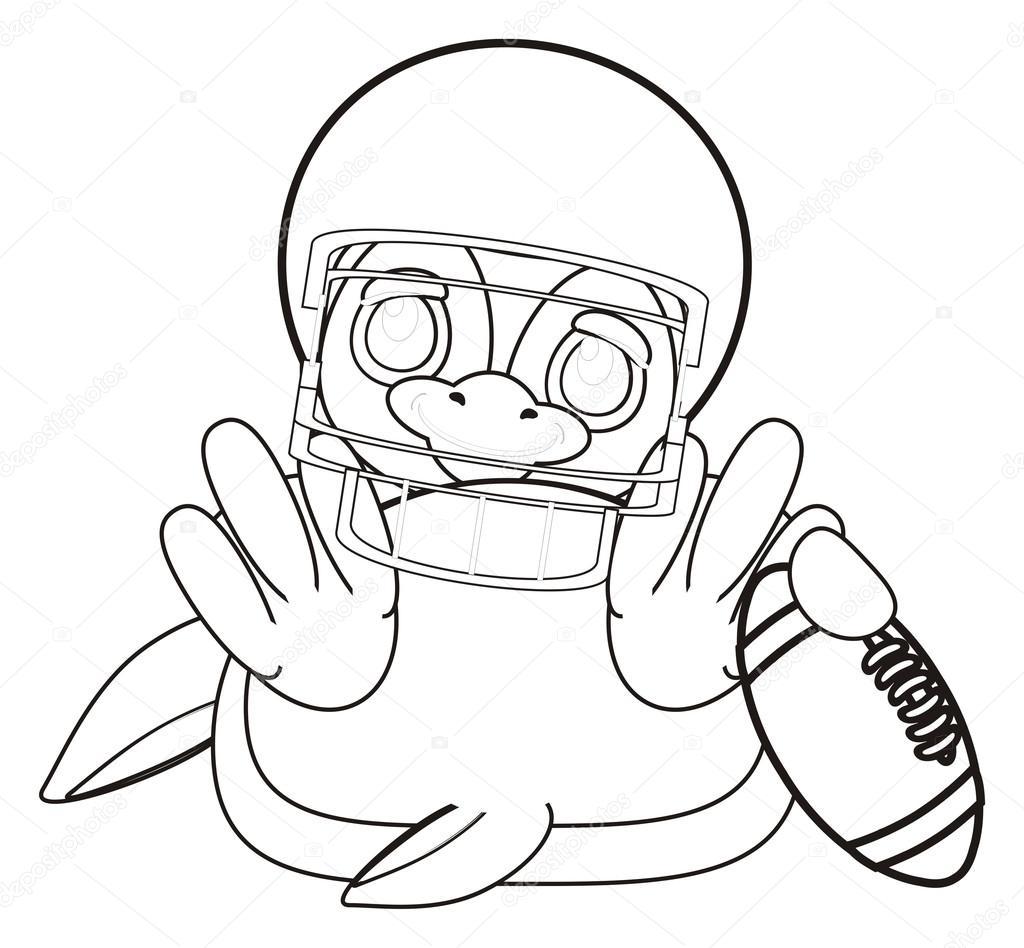 Kleurplaat Pinguin In Helm Rugby Stockfoto C Tatty77tatty 122720294