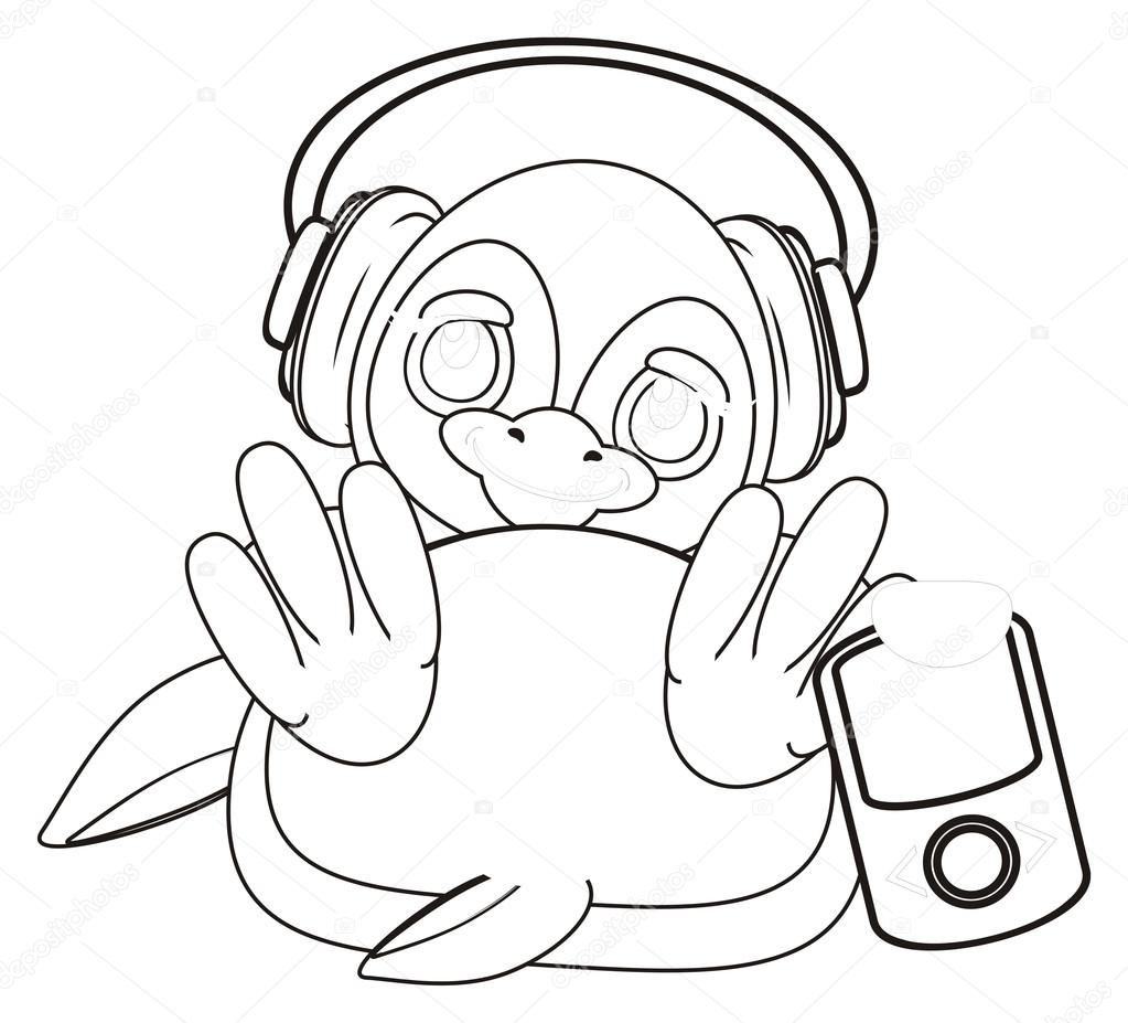 Malvorlagen Pinguin mit Kopfhörer — Stockfoto © tatty77tatty #122720340