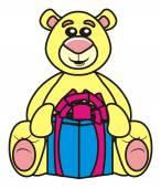animal, toy, pet, farm, childhood, child, isolated, cartoon, bear, teddy bear, teddy, gift, surprise, porobka, bat, ribbon, birthday