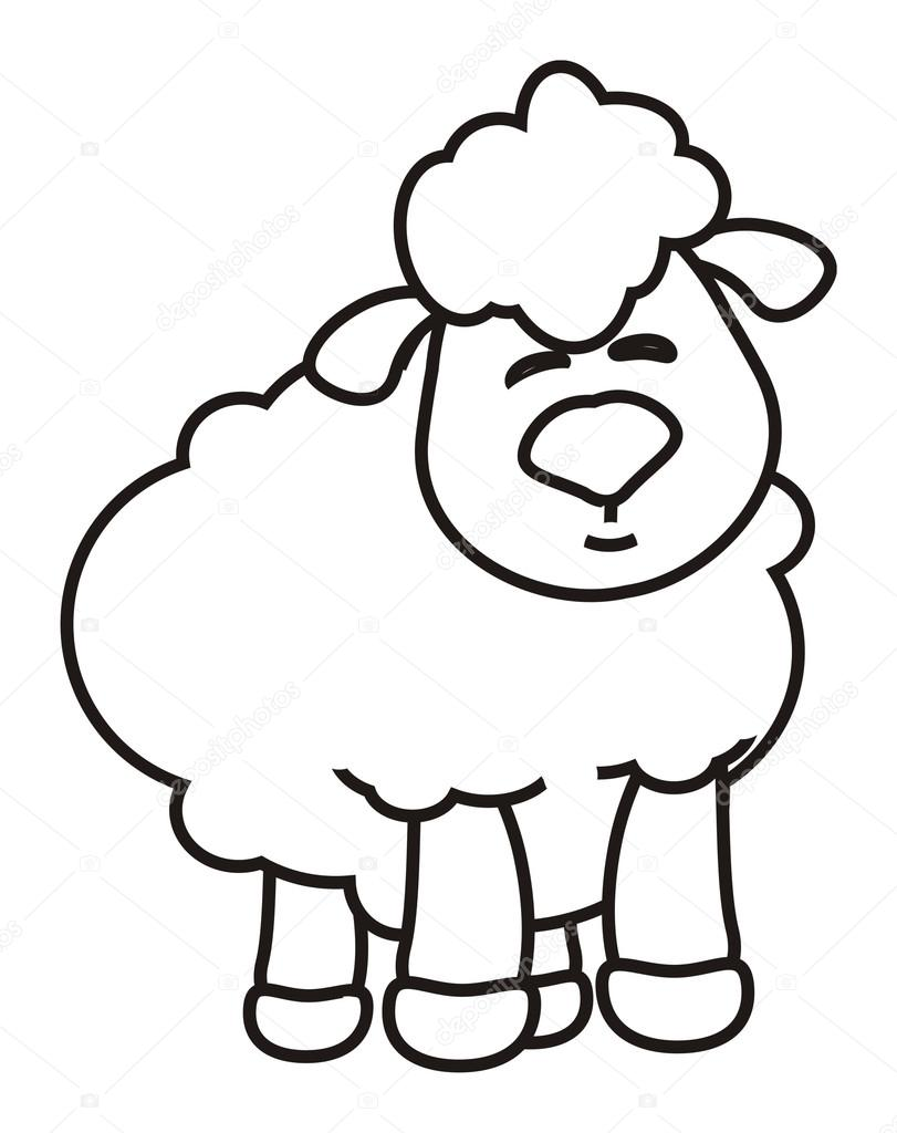 wool, black, white, example, coloring, crayons, paint, draw, sketch ...