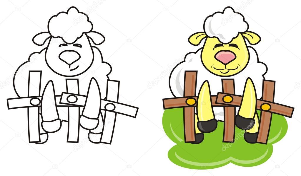 Tier, Karikatur, isoliert, Spielzeug, Schaf, Lamm, Bauernhof, Huf ...