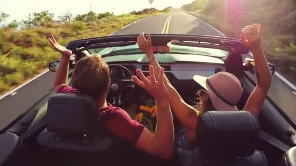 Romantic Convertible Drive into Sunset