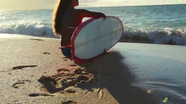 Beautiful Attractive Young Girl at the Beach with Surfboard