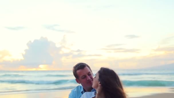 Passionate Couple in Love at Beach Sunset