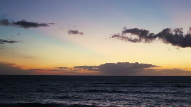 Beautiful Sunset Seascape Horizontal Pan Over Hawaiian Islands and Pacific Ocean.
