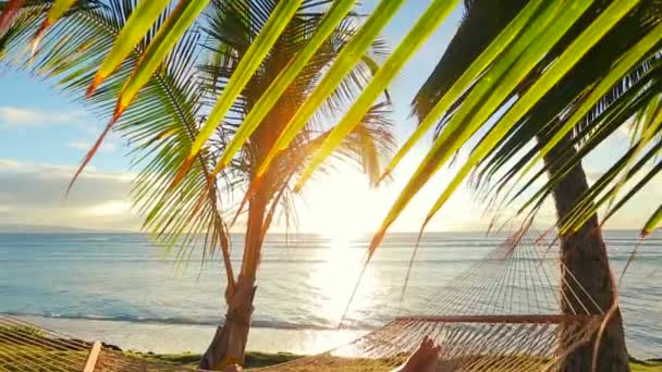Krásná mladá žena relaxační v tropické houpací síti při západu slunce.