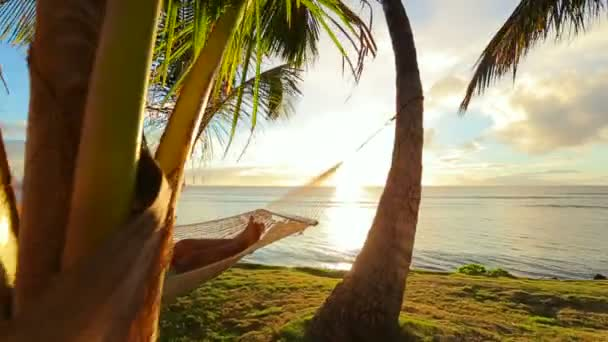 Happy young couple relaxing in tropical hammock at sunset