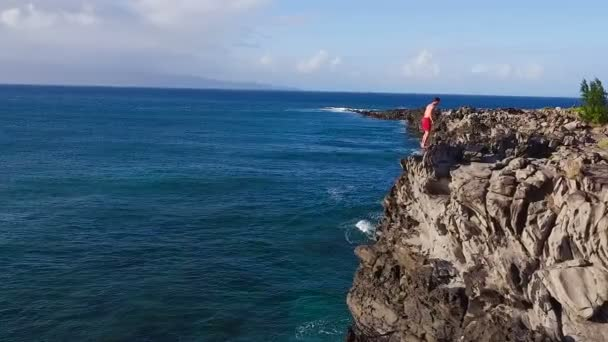 Summer Extreme Sports Cliff Jumping Outdoor Lifestyle. Aerial Shot.