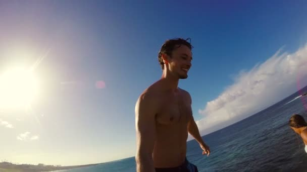 POV Slow Motion Sunset Cliff Jumping Backflip. Athletic Young Man Jumping From Cliff Into Ocean.