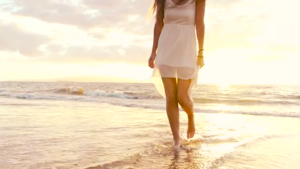 Happy Girl Having Fun at the Beach on Luxury Island at Sunset. Slow Motion