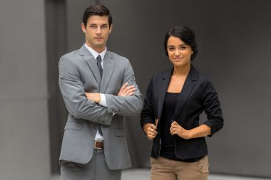 Powerful confident pose portrait of a new modern fresh young new team company legal business
