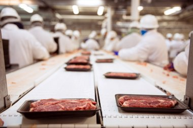 Raw steak beef packaged and shipped with workers