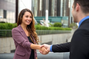 Beautiful model young professional entrepreneur business company CEO handshake
