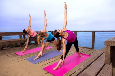Alignment pose yoga class row outdoor location retreat attractive thin fit women