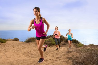 Leader jogger running uphill extreme workout fitness in shape weight loss exercise team row modern