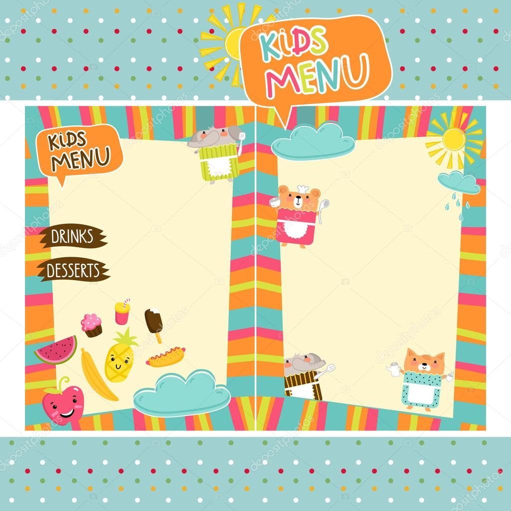 Plantilla de vector de menú de comida de niños coloridos — Vector de ...