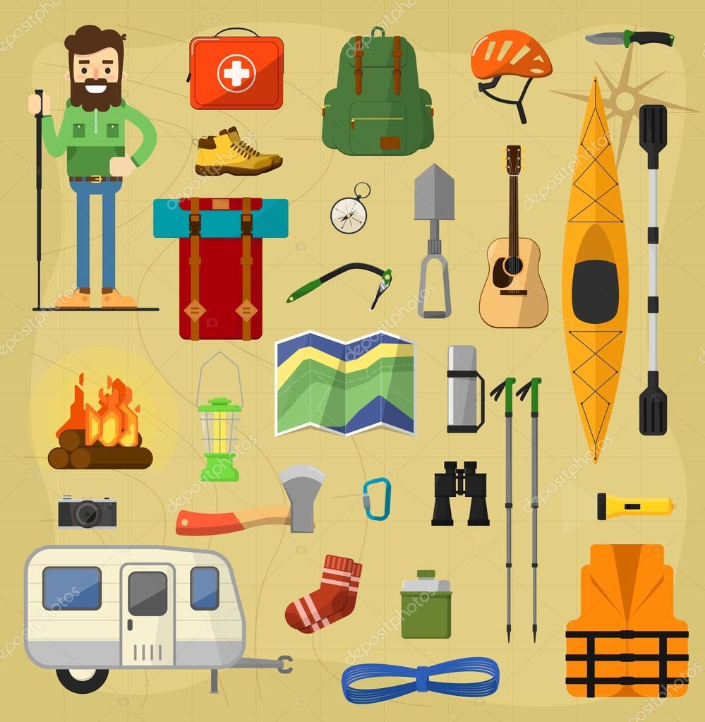 Símbolos de equipos camping — Foto de stock © studioworkstock #103426778