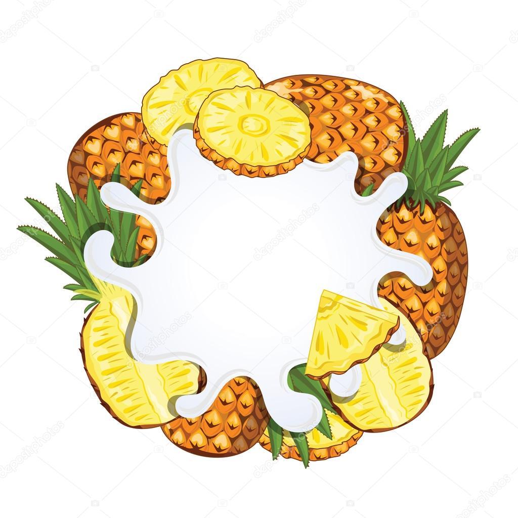 Yogurt splash isolated with pineapple, vector — Vector de stock ...