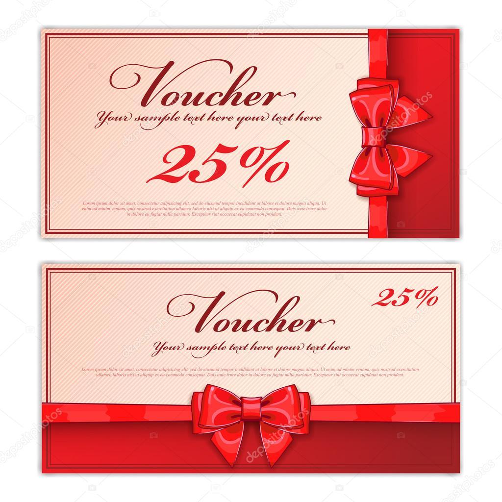 Modelo de vale presente layout de vetor vetores de stock gift discount voucher template vector layout special offer coupon business voucher layout with gift bow red color vintage style stopboris Choice Image
