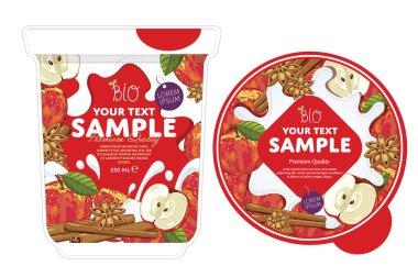 Apple cinnamon Yogurt Packaging Design Template.