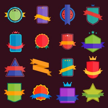 Bitmap badges flat modern style. Big Set of Bitmap Label, Sticker, Tags. Collection of Colorful Abstract Badges and Sticker. stock vector