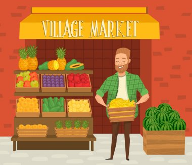 Farmers market. Local farmer shopkeeper.