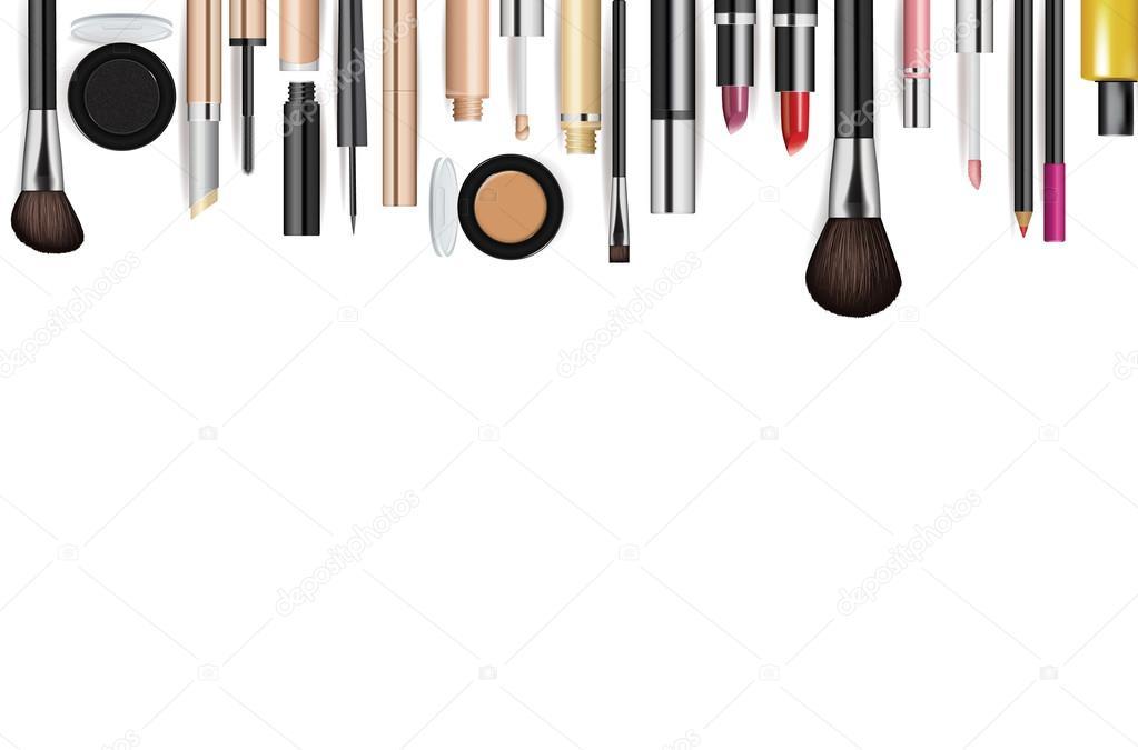 ferramentas de maquiagem cosm233ticos fundo de vetor de