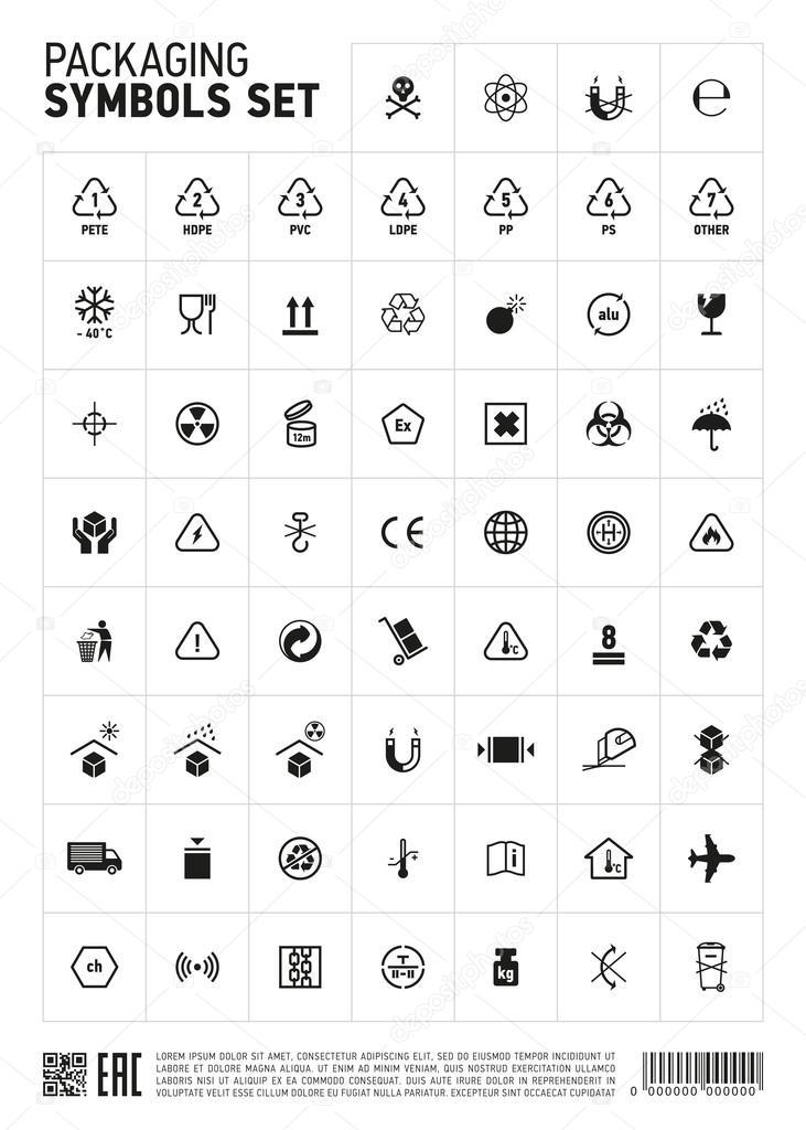 Packaging Symbols Set Icon Stock Vector Studioworkstock 111410590