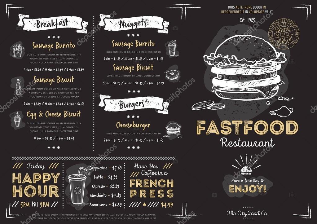 Mod le de menu fast food restaurant caf image vectorielle studioworkstock 117145848 - Stock cuisine saint priest ...