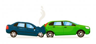 Rear end collision. Two isolated vector car impact on white road background. Rear end traffic collision illustration