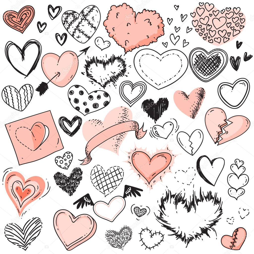 Heart sketches. Doodle heart shape symbols set. Cute fluffy, dotted, outlined, checkered, broken, red, black and white hearts with wings, arrow sketches. Scribble design elements for Valentines Day icon