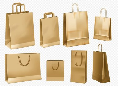 Craft paper bag template. Blank gift cardboard packet set isolated. Paper handle bag template for retail branding design. Brown shop pack front view mockup set. icon
