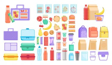Lunch box. School or office lunch box and fruit, vegetable, hamburger fast food packed meal and bottled drink product item set. Vector plastic container, textile and disposable paper bag illustration icon