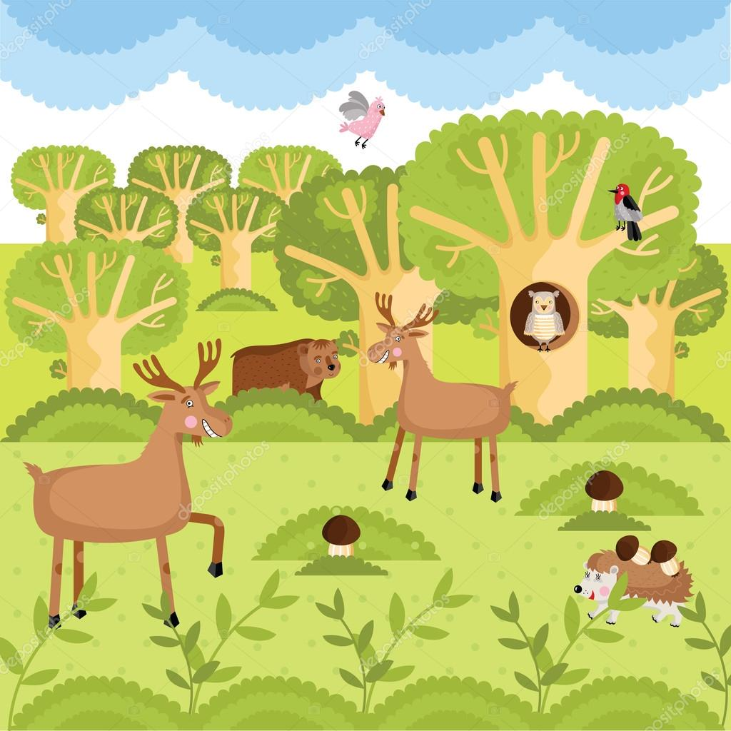 Vector wild animals on the forest.
