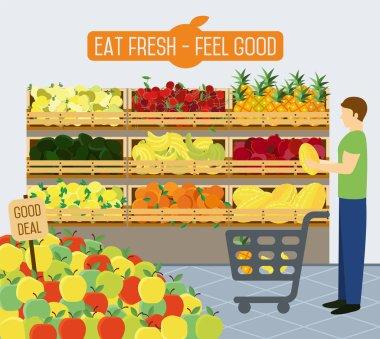 Supermarket shelves of vegetables.
