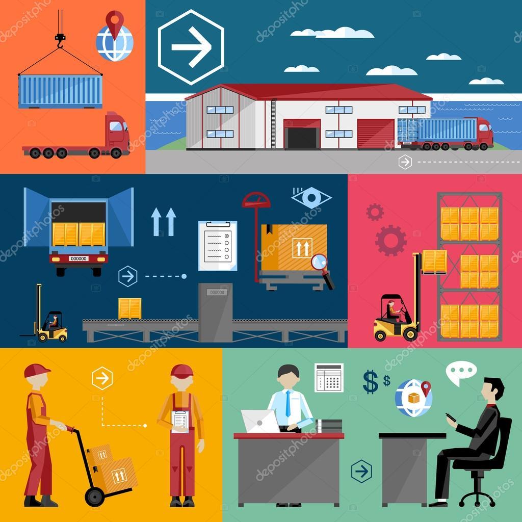 Warehousing and logistics processes  — Stock Vector