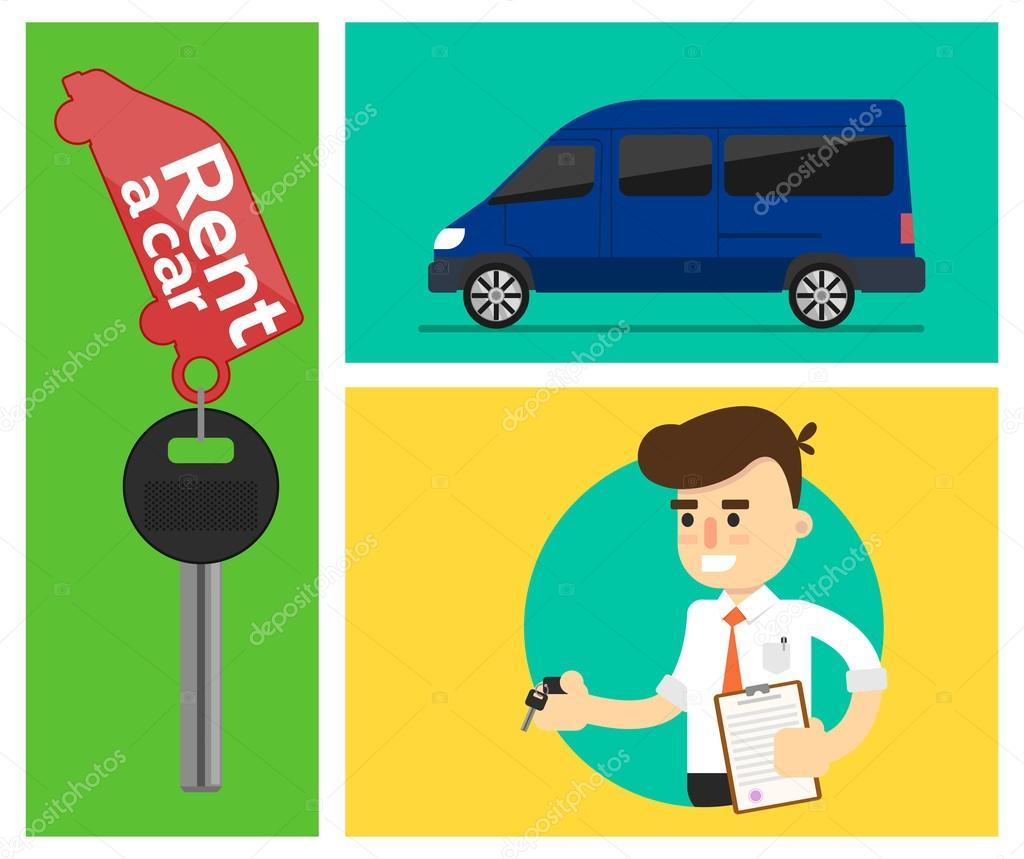 Banners de coche de alquiler — Vector de stock © studioworkstock ...