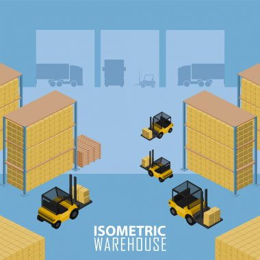 Isometric Warehouse logistic process. Infographics illustration simple style. stock vector