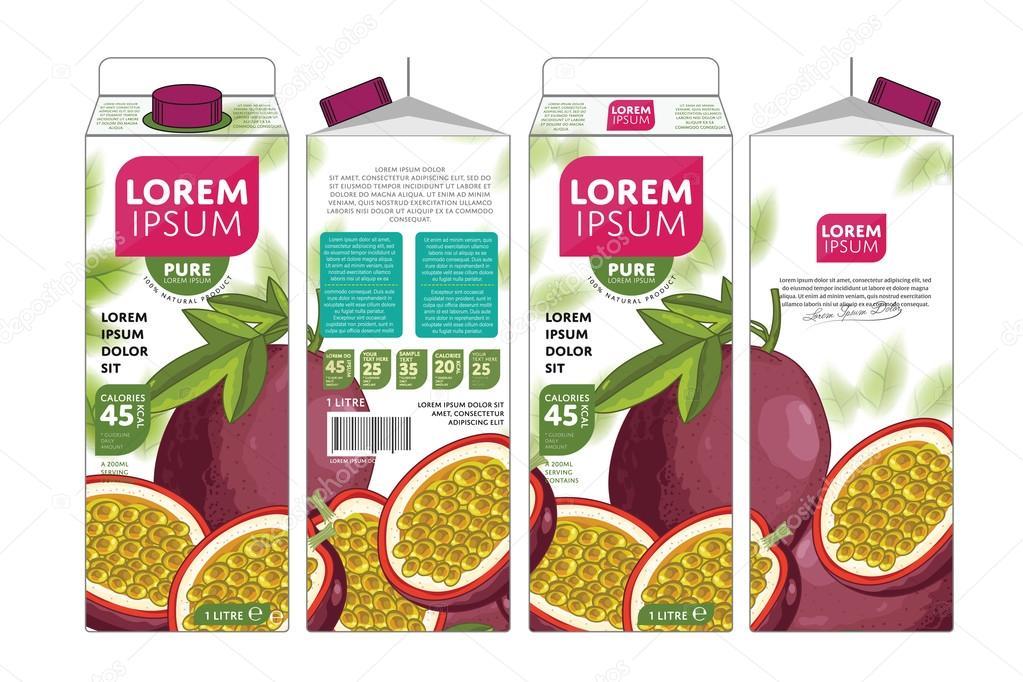 Passion Fruit Juice Carton Cardboard Box Pack Design clipart vector
