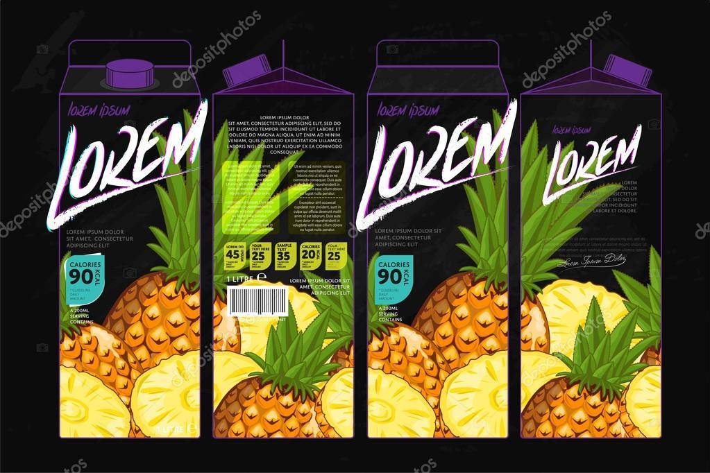 template packaging design pineapple juice stock vector