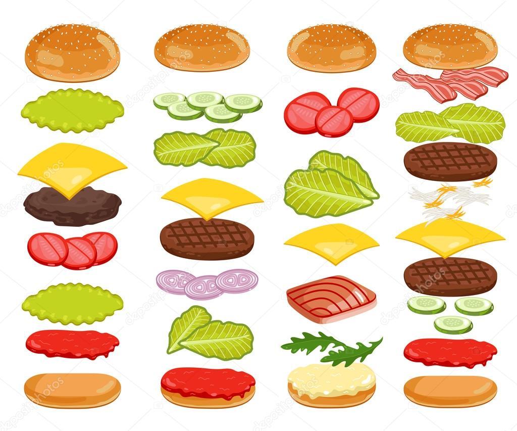 burger zutaten set auf wei em hintergrund stockvektor studioworkstock 97271486. Black Bedroom Furniture Sets. Home Design Ideas