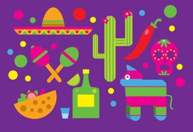 Mexico icons, Cactus, Sombrero, Maracas, Tequila.