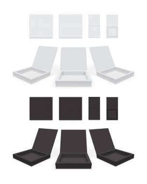Open white and black paper box vector mock up icon